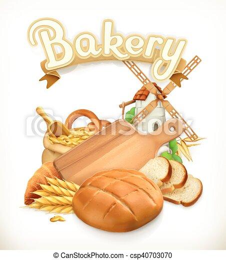 Bakery, Bread. 3d vector logo - csp40703070
