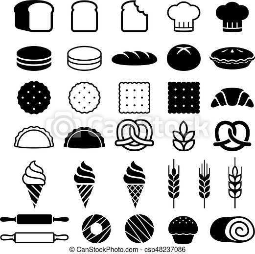 Bakery cakes icons set. Vector illustration. - csp48237086