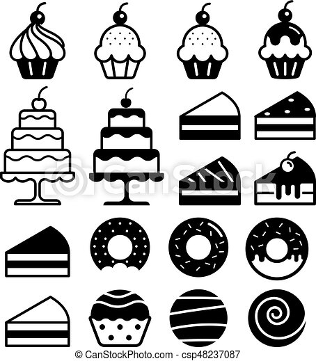 Bakery cakes icons set. Vector illustration. - csp48237087
