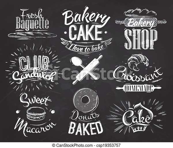 Bakery characters chalk - csp19353757