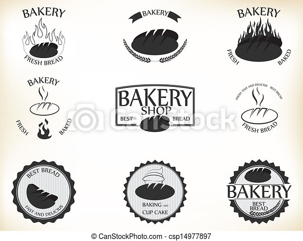 Bakery labels and badges with retro - csp14977897