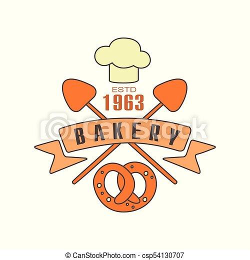 Bakery logo template, estd 1963, bread shop badge retro food label ...