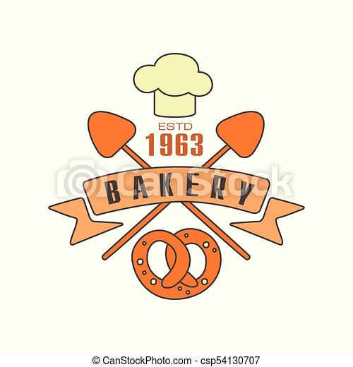 Bakery logo template, estd 1963, bread shop badge retro food label design vector Illustration - csp54130707