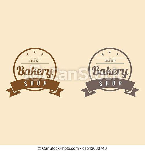 Bakery logo with ribbon vintage design vector template. Bakery logo ...
