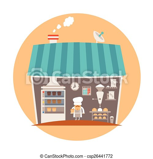 Bakery or bakeshop vector concept - csp26441772
