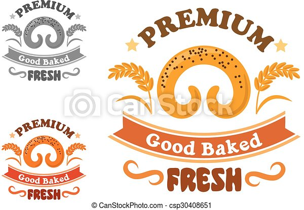 Bakery or pastry shop sign with sweet bun - csp30408651