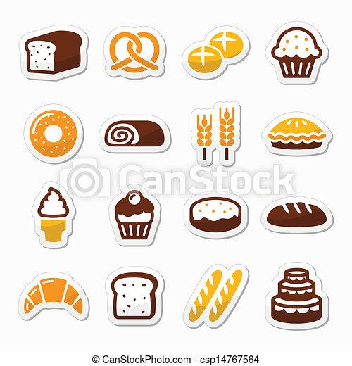 Bakery, pastry icons set - bread - csp14767564
