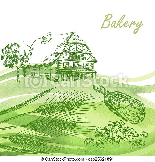 Bakery set. Hand drawn farm house, wheat, grain with watercolor  - csp25621891