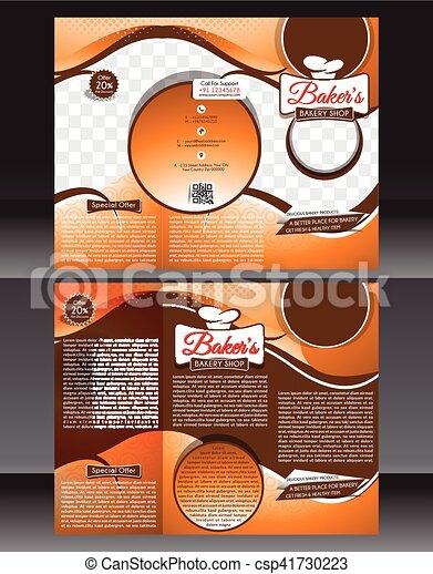 Bakery Shop Brochure Template Design Vector Illustration Vector - Bakery brochure template free