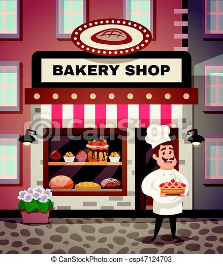 Bakery Shop Cartoon Illustration Bakery Shop Design Concept With