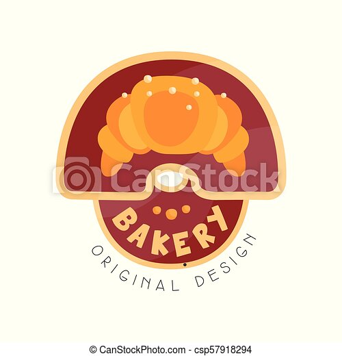Bakery shop logo design template, badge for bread store, food market, cafe, restaurant vector Illustration on a white background - csp57918294