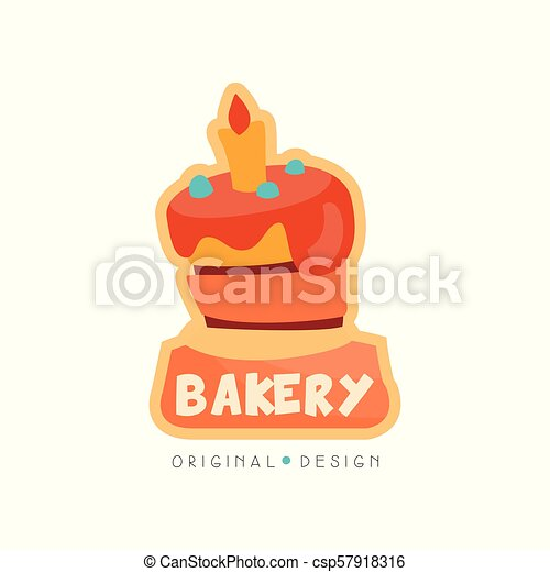 Bakery shop logo design template, badge for bread store, coffee shop, food market, vector Illustration on a white background - csp57918316