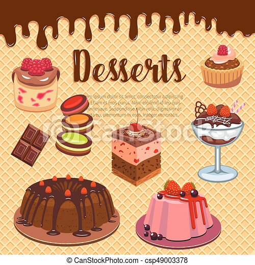 Bakery Shop Pastry Desserts Vector Wafer Poster Desserts And Cakes