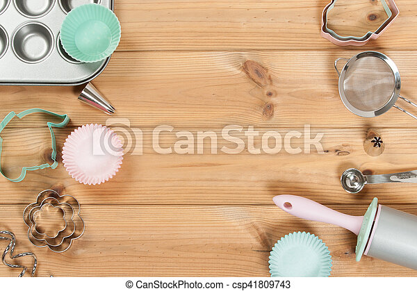 Bakery Utensils. Baking Kit. Kitchen Tools. Top View. Copy Space. - csp41809743
