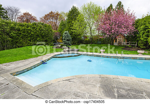 bakgård damm, simning - csp17404505