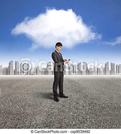 bakgrund, beräkning, ringa, moln, holdingen, affärsman, smart - csp9539492