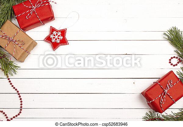 bakgrund, gåva, utrymme, trä, text., rutor, utsmyckningar, vit, tabell., jul - csp52683946