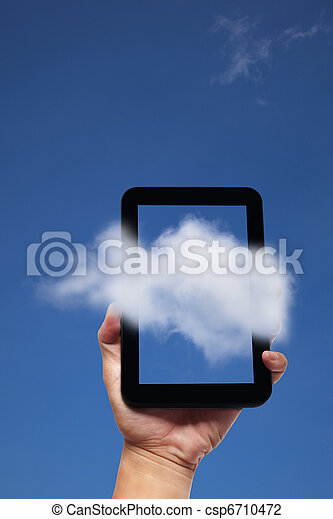 bakgrund, kompress, hand, pc, holdingen, moln - csp6710472