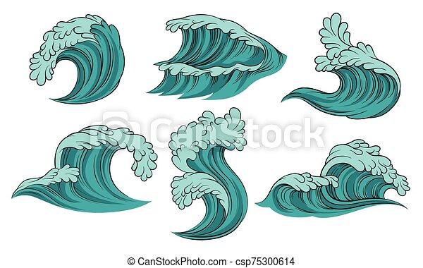 bakgrund., vektor, illustration, hav, sätta, waves., vit - csp75300614