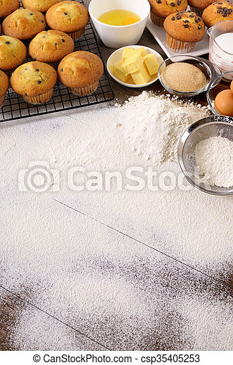 Baking background with ingredients - csp35405253