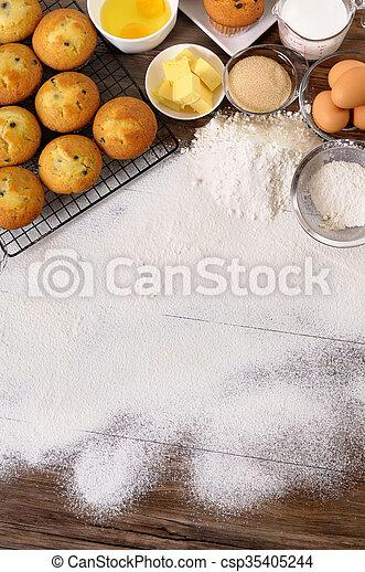 Baking background with ingredients - csp35405244