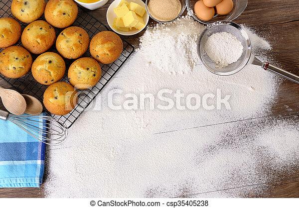 Baking background with ingredients - csp35405238