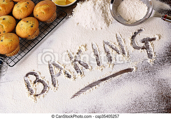 Baking cakes with ingredients - csp35405257