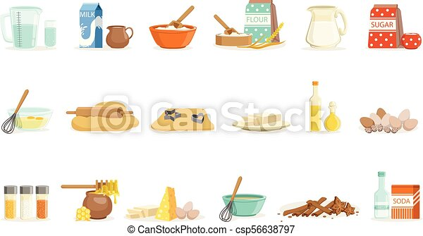 Baking Ingredients And Kitchen Tools And Utensils Set Of Realistic Cartoon Vector Illustrations With Cooking Related Objects - csp56638797
