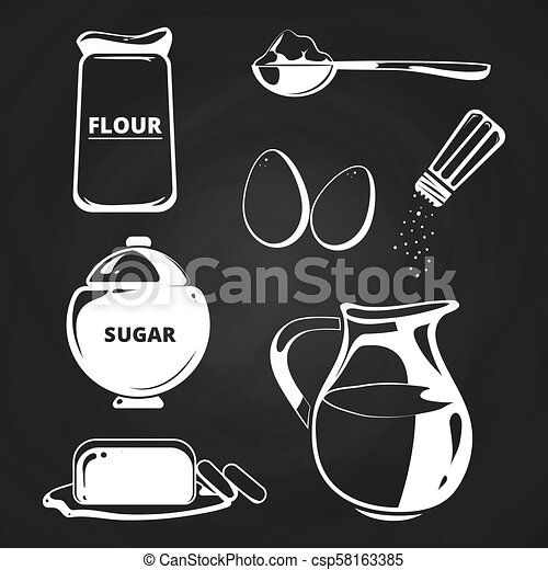 Baking ingredients collection on chalkboard - csp58163385