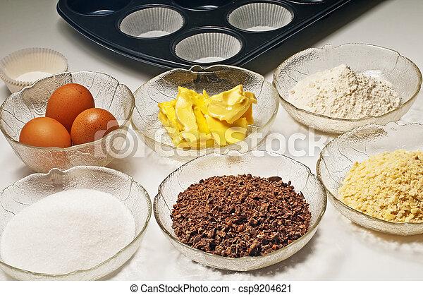 baking ingredients for muffins - csp9204621