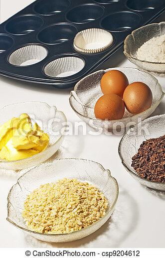 baking ingredients for muffins - csp9204612