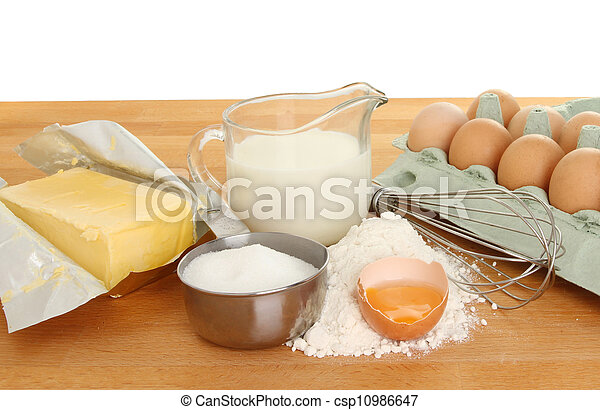 Baking ingredients on worktop - csp10986647