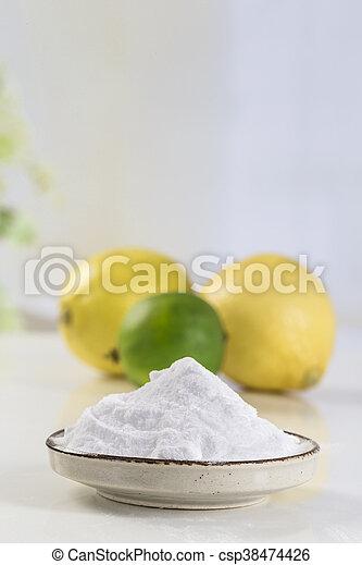 baking soda sodium bicarbonate Medicinal and household Uses - csp38474426