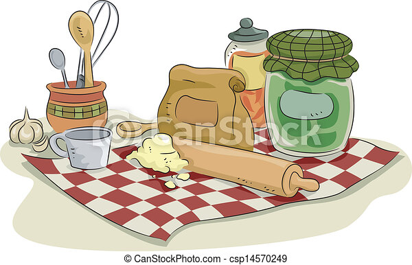 Illustration Of Baking Utensils And Ingredients Eps Vector