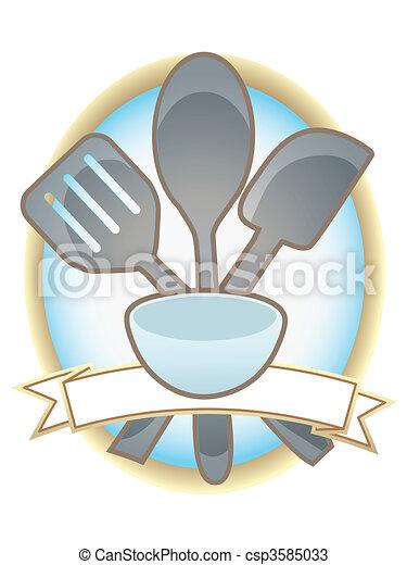 Baking Utensils Oval Blank Banner - csp3585033