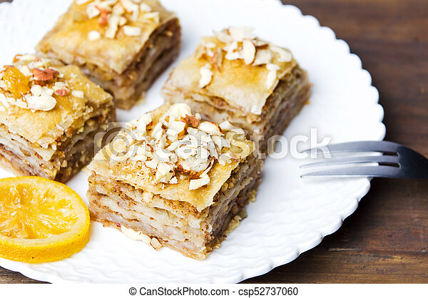 Baklava dessert slices on a plate - csp52737060