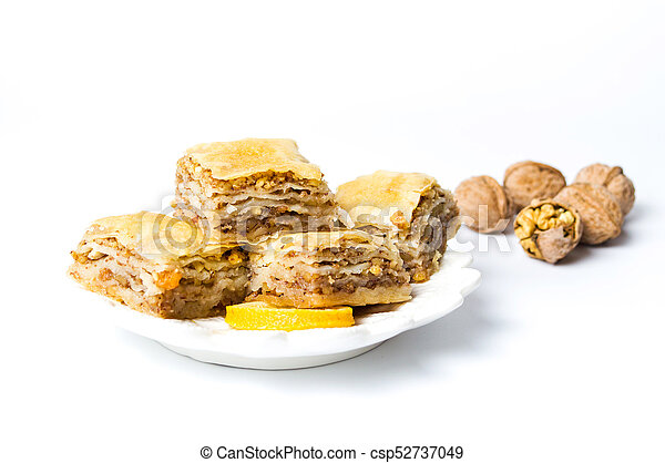Baklava dessert slices on a plate - csp52737049