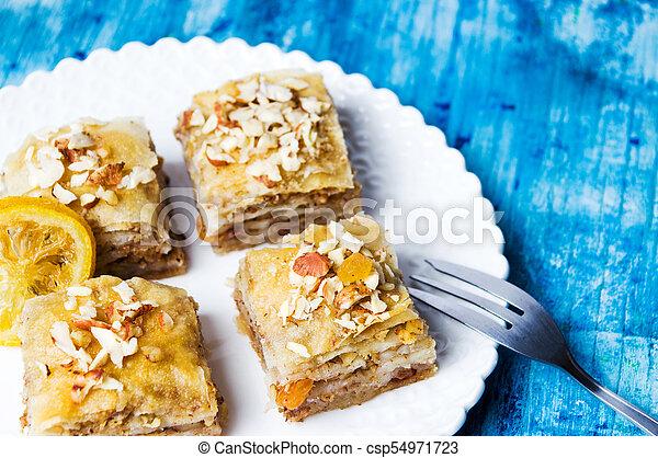 Baklava dessert slices on a plate - csp54971723
