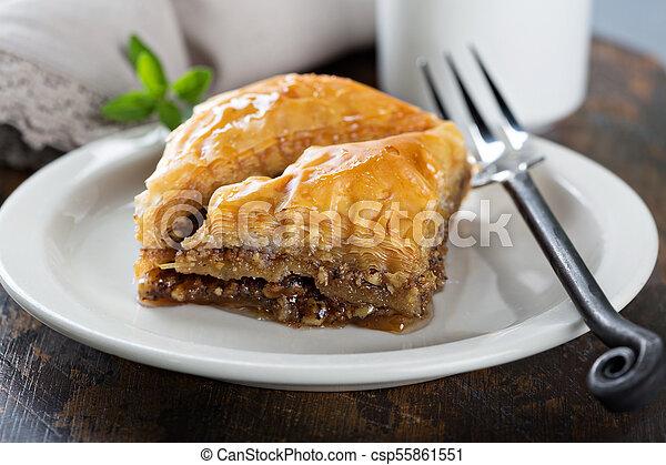 Baklava on a dessert plate - csp55861551