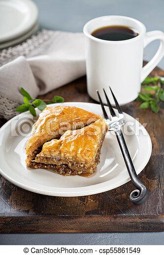 Baklava on a dessert plate - csp55861549