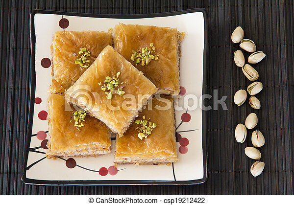 Baklava on a Plate with Pistachios - csp19212422