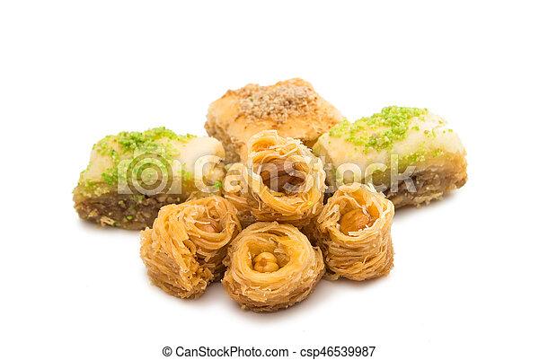 baklava with walnuts isolated - csp46539987