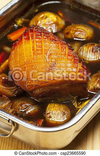 bakning, skål, fläsk, bayersk, stek - csp23665590
