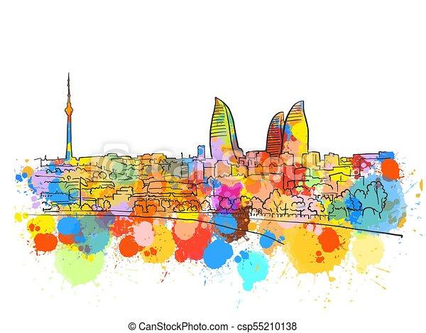 Baku Azerbaijan Colorful Landmark Banner - csp55210138