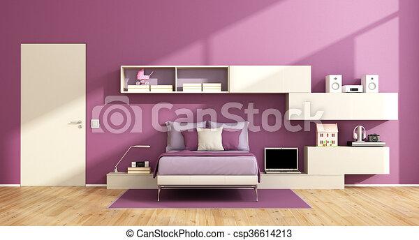 Bakvis kamer paarse tiener kamer muur moderne bed