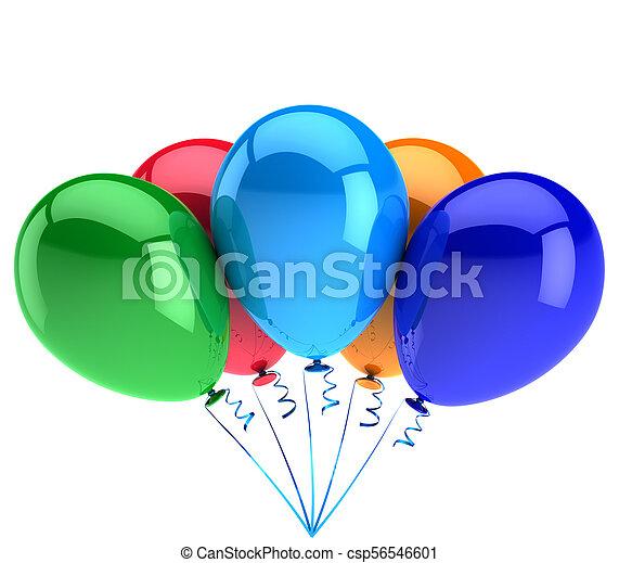 balões, decoração, aniversário, cinco, partido, brilhante, comemorar, feliz - csp56546601