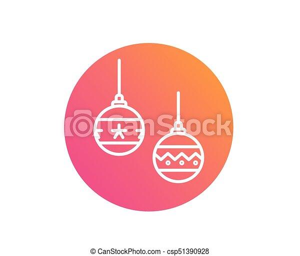 bal, kleurrijke, helling, versiering, vector, lijn, kerstmis, pictogram - csp51390928