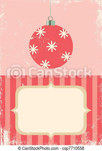 bal, retro, illustratie, kerstmis - csp7710558