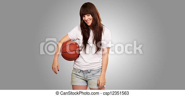 bal, voetbal, jonge, vrouwlijk, verticaal, voetbal - csp12351563