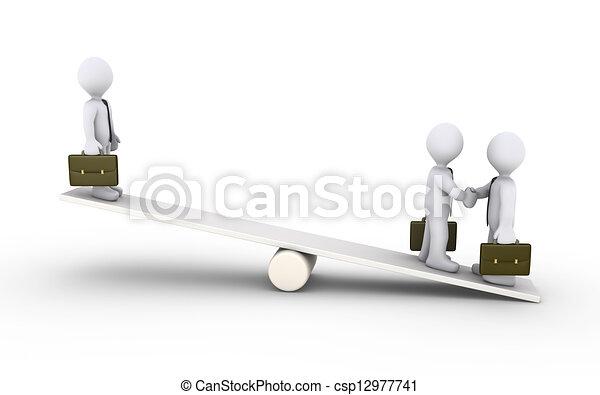 Un acuerdo de hombres de negocios en un balancín - csp12977741